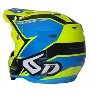 6D ATR-2 Strike Neon Yellow Blue Helmet Image 3