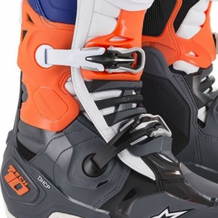 Alpinestars Tech 10 Cool Grey Orange Fluo Blue Wht Boots Image 3