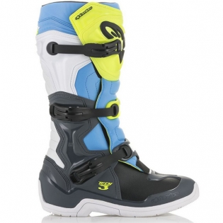 Alpinestars Tech 3 Cool Grey Fluo Yellow Cyan Boots Image 2