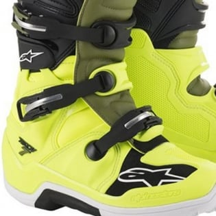 Alpinestars Tech 7 Flo Yellow Military Green Black Boots Image 4