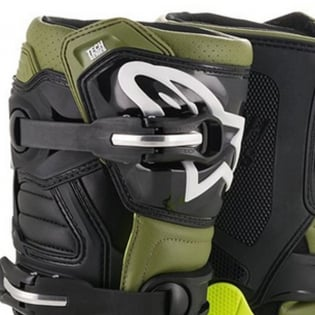 Alpinestars Kids Tech 7S Fluo Yellow Military Green Black Boots Image 2