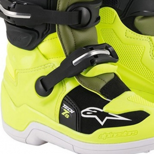 Alpinestars Kids Tech 7S Fluo Yellow Military Green Black Boots Image 4