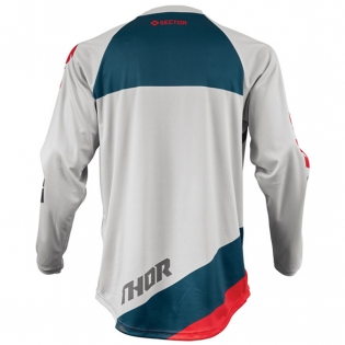 Thor Kids Sector Shear Light Grey Red Jersey Image 3