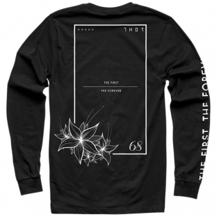 Thor Floral & Faded Long Sleeve Black T Shirt Image 3