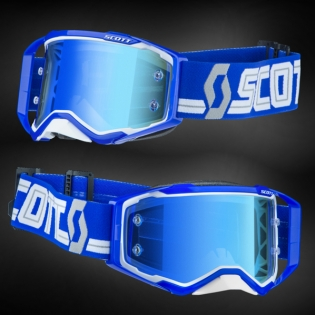 Scott Prospect White Blue Electric Blue Chrome Goggles Image 2