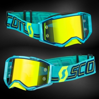 Scott Prospect Blue Teal Yellow Chrome Goggles Image 2