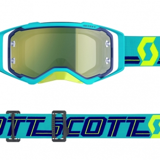 Scott Prospect Blue Teal Yellow Chrome Goggles Image 3