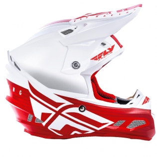 Fly Racing F2 Carbon MIPS Shield White Red Helmet Image 2