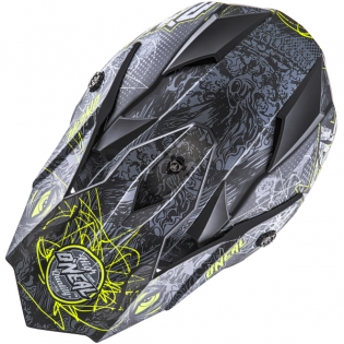 ONeal 7 Series Evo Menace Grey Hi Viz Motocross Helmet Image 2