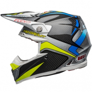 Bell Moto 9 Carbon Flex Helmet - Pro Circuit Black Green Replica Image 2