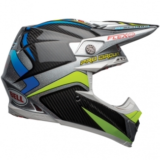 Bell Moto 9 Carbon Flex Helmet - Pro Circuit Black Green Replica Image 4
