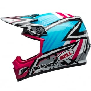 Bell MX9 MIPS Helmet - Tagger Asymmetric Gloss Blue Pink Image 2