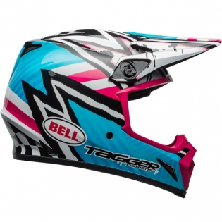 Bell MX9 MIPS Helmet - Tagger Asymmetric Gloss Blue Pink Image 4