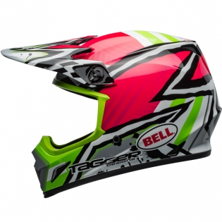 Bell MX9 MIPS Helmet - Tagger Asymmetric Gloss Pink Green Image 2