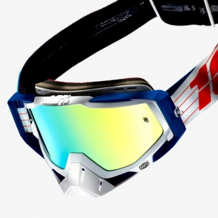 100% Racecraft Bibal White Mirror Lens Goggles Image 3