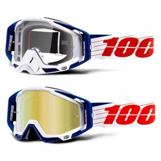 100% Racecraft Bibal White Mirror Lens Goggles Image 4