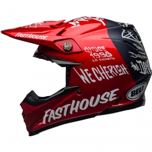 Bell Moto 9 Carbon Flex Fasthouse Dirt Red Navy Helmet  Image 2