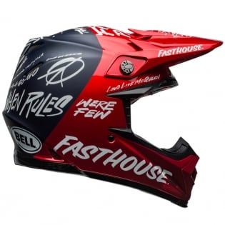 Bell Moto 9 Carbon Flex Fasthouse Dirt Red Navy Helmet  Image 3