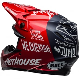 Bell Moto 9 Carbon Flex Fasthouse Dirt Red Navy Helmet  Image 4