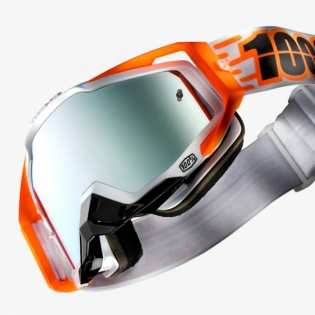 100% Racecraft Plus Illumina Injected Silver Mirror Lens Goggles Image 3