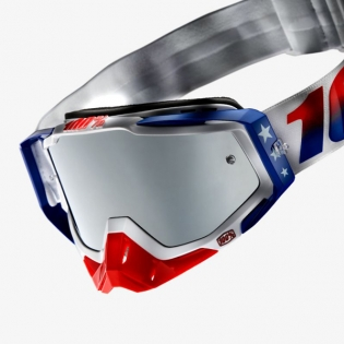 100% Racecraft Plus MDXN RWB Injected Silver Mirror Lens Goggles Image 3