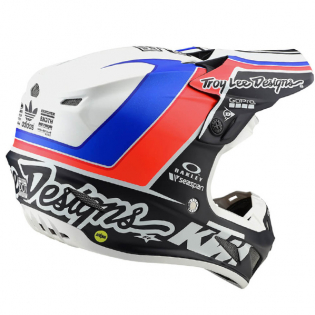 Troy Lee Designs SE4 Unite White Navy Composite Helmet Image 3