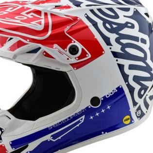 Troy Lee Designs SE4 Factory White Blue Polyacrylite Helmet Image 2
