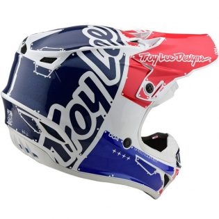 Troy Lee Designs SE4 Factory White Blue Polyacrylite Helmet Image 3