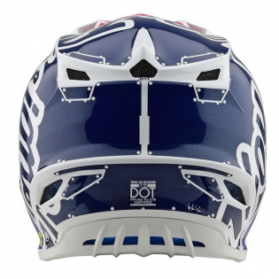 Troy Lee Designs SE4 Factory White Blue Polyacrylite Helmet Image 4