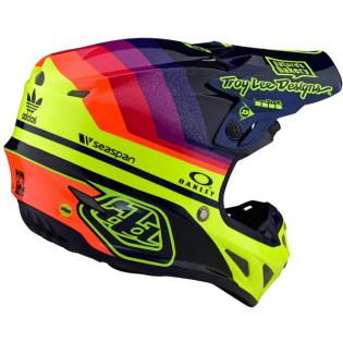 Troy Lee Designs SE4 Carbon Ltd Ed Mirage Navy Yellow Helmet Image 2
