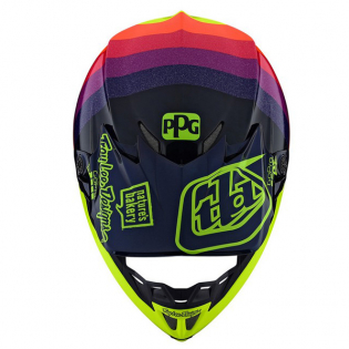 Troy Lee Designs SE4 Carbon Ltd Ed Mirage Navy Yellow Helmet Image 4