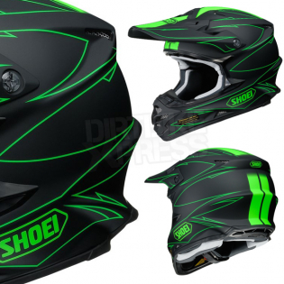 Shoei VFXW Hectic Matt Black Green TC4 Helmet Image 4
