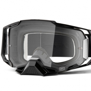 100% Armega Black Essential Clear Lens Goggles Image 2