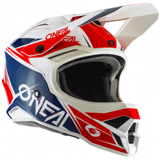 ONeal 3 Series Stardust White Blue Red Motocross Helmet Image 2