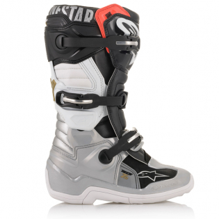 Alpinestars Kids Tech 7S Black Silver White Gold Boots Image 3