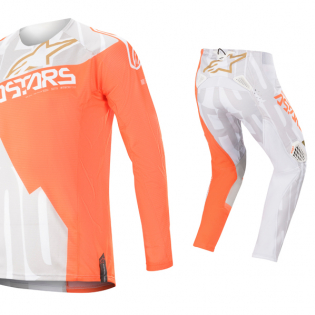 Alpinestars Techstar Factory Metal Wht Orange Gold Jersey Image 2
