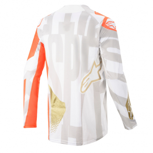 Alpinestars Techstar Factory Metal Wht Orange Gold Jersey Image 3