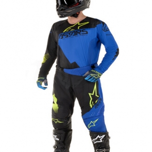 Alpinestars Techstar Factory Black Blue Yellow Fluo Pants Image 2
