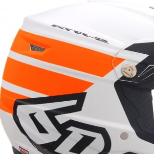 6D ATR-2 Stripe Orange White Helmet Image 2
