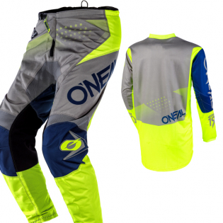 ONeal Element Factor Grey Blue Yellow Pants Image 4