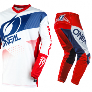 ONeal Element Factor White Blue Red Pants Image 2