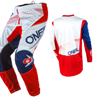 ONeal Element Factor White Blue Red Pants Image 4