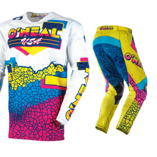 ONeal Mayhem Lite Crackle 91 Yellow White Blue Jersey Image 2