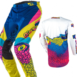 ONeal Mayhem Lite Crackle 91 Yellow White Blue Pants Image 4