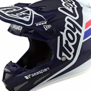 Troy Lee Designs SE4 Carbon Silhouette Blue White Helmet Image 2