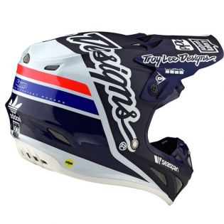 Troy Lee Designs SE4 Carbon Silhouette Blue White Helmet Image 3