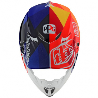 Troy Lee Designs SE4 Jet Orange Navy Composite Helmet Image 4