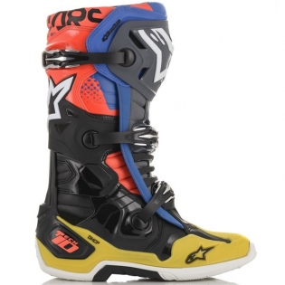 Alpinestars Tech 10 Black Yellow Blue Red Fluo Boots Image 2