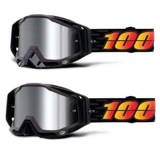 100% Racecraft Plus Costume Injected Silver Mirror Lens Goggles Image 4