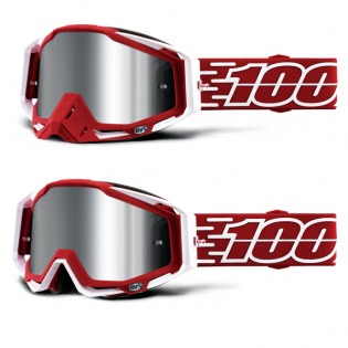 100% Racecraft Plus Gustavia Injected Silver Mirror Lens Goggles Image 4